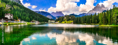 Beautiful mountain lake Lago di Misurina in Dolomites Alps, northen Italy