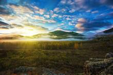 Sunrise In Altai Mountains Nat...