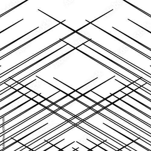 Grid, mesh pattern, texture with dynamic, irregular lines. Intersecting stripes matrix, grating. Irregular trellis, lattice background Wall mural