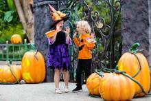 Child In Halloween Costume. Kids Trick Or Treat.