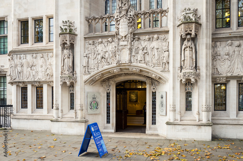 Entrance to the Supreme Court of the United Kingdom, which focuses on cases that are of importance to the general public, like the Brexit ruling, in Parliament Square, London, UK
