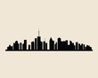 Cities silhouette illustration. Black town skyline background