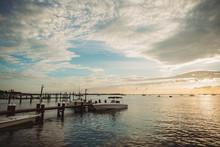 Boats Sailing In The Florida Keys At Sunset