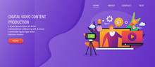 Video Marketing Campaign, Web Promotion, Digital Content, Webinar, Social Media Video, Vlog Concept With Character. Web Banner, Template, Presentation.