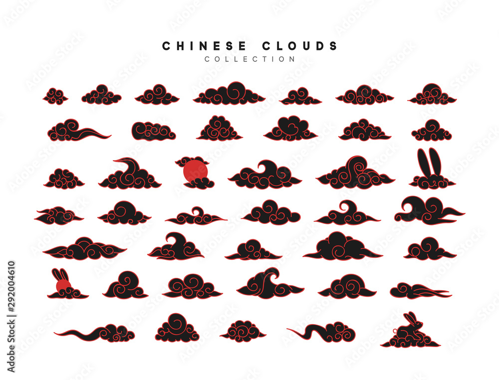 Fototapeta Collection of black and red clouds in Chinese style.