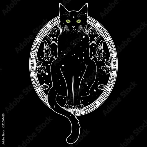 Black cat with green eyes on the background of the night starry sky and autumn oak branches Poster Mural XXL