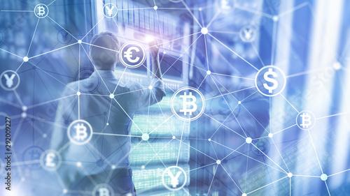 Fototapeta Bitcoin and blockchain concept. Digital economy and currency trading obraz na płótnie