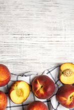 Tasty Fresh Peaches And Fabric...