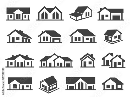 Obraz Houses exterior black glyph vector icons set - fototapety do salonu