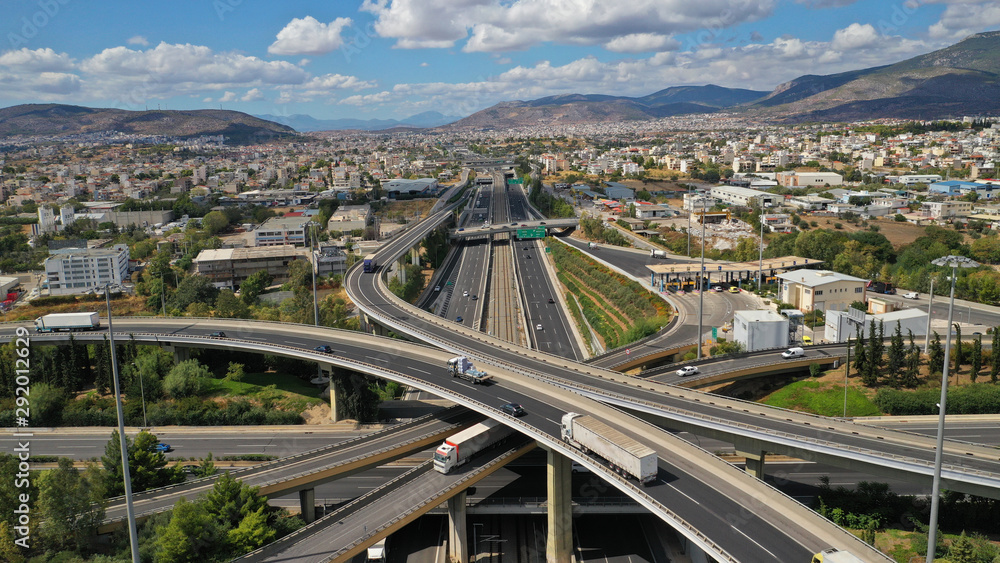 Fototapety, obrazy: Aerial photo of multilevel junction highway overpass in urban area with beautiful sky and clouds