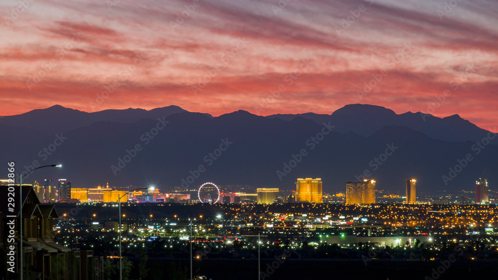 Fototapety, obrazy: Aerial sunset high angle view of the downtown Las Vegas Strip