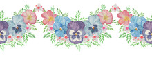 Vintage Border With Watercolor Pansy On White Background. Hand Drawn Illustration. Bouquet. Set With Pink, Purple And Blue Flowers.  Horizontal Seamless Pattern
