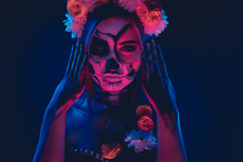 Spooky Female In Floral Wreath
