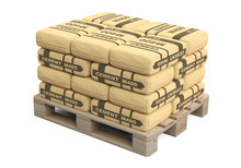 Paper Cement Bags In Stack On Wooden Pallet.