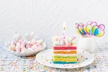 Rainbow Birthday Cake With Mar...