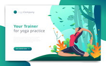 Web Page Template Of Yoga Trainer Do Exercise In Open Nature. Easy To Edit And Customize. Vector Illustration. Eps10