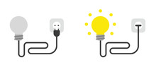 Vector Icon Set Of Light Bulb With Cable, Plug And Plugged Into Outlet And Glowing.