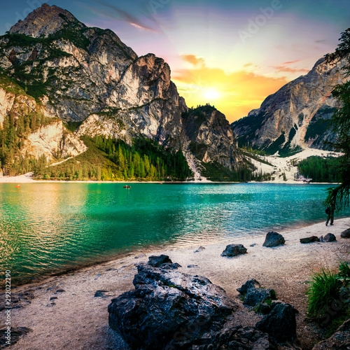 Spoed Fotobehang Bergen Amazing mountain lake in Alps - Lago di Braies over sunset. Dolomites, Italy