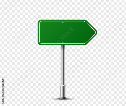 Realistic arrow traffic sign on metal steel pole isolated. Green road panel mockup - direction highway, board text, city location, street arrow, stop, danger, warning signage. Vector illustration Wall mural