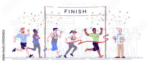 Cuadros en Lienzo Marathon finish flat vector illustration