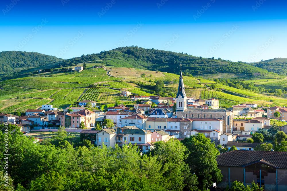 Fototapeta Le Perreon village at morning, Landscape of Beaujolais, France
