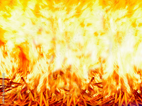 Fire background. Firewood covered with bright tongues of flame. Wallpaper Mural
