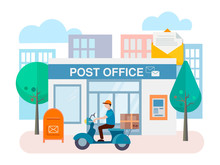 Post Office Building With Mailbox Outside And ATM On The Wall Of The Building And Delivery Worker On Motorcycle.