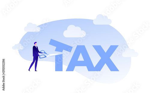Plakat do biura rachunkowego  vector-flat-business-tax-cut-person-illustration-man-with-scissors-cut-tax-text-isolated-on