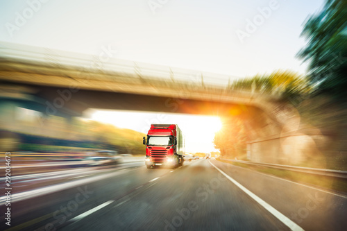 Lorry traffic on motorway
