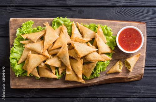 Fototapeta Traditional asian vegetarian food samosa obraz