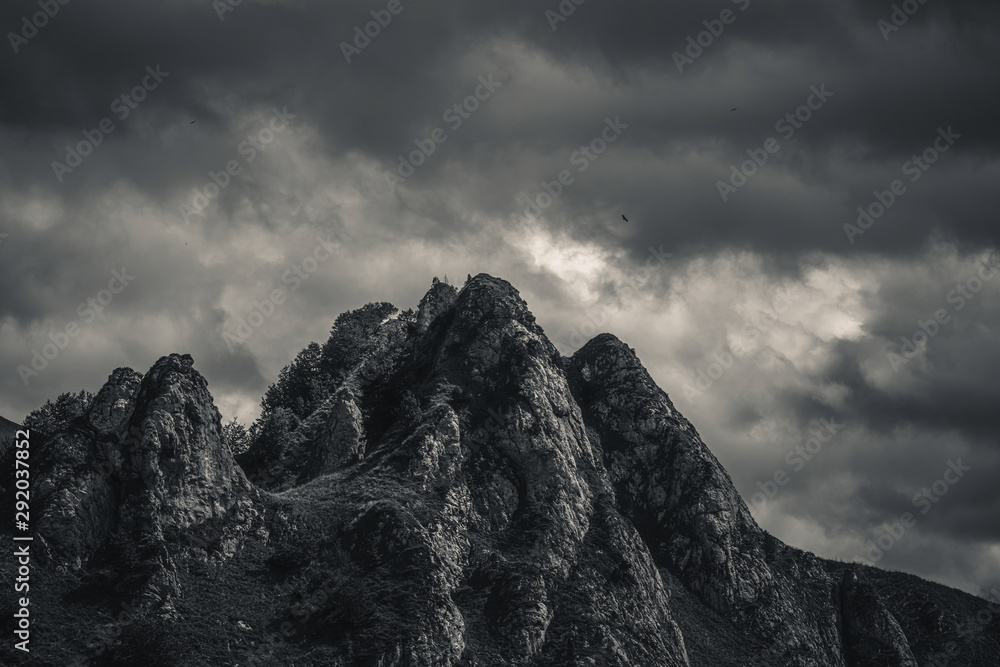 Fototapety, obrazy: Mysterious black mountain with dramatic cloudy sky