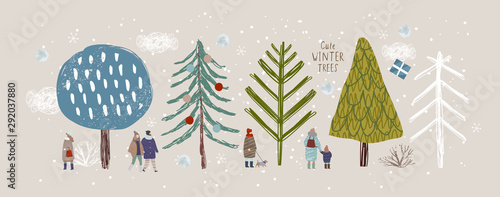 cute winter trees, vector isolated illustration of trees, leaves, fir trees, shrubs,  snow, people and clouds, New Year and Christmas objects and elements of nature to create a landscape - 292037880