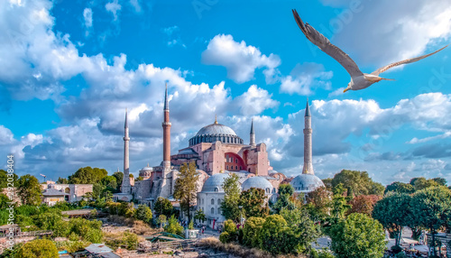 Fotografia, Obraz Sunny day architecture and Hagia Sophia Museum, in Eminonu, istanbul, Turkey