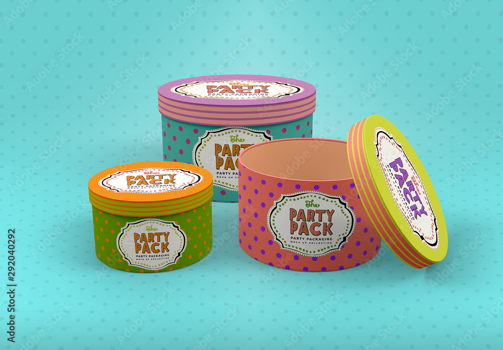 Fototapety, obrazy: Round Gift Boxes Packaging Mockup