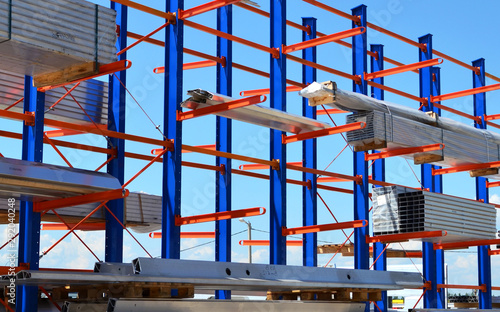 Fotografie, Obraz Warehouse Cantilever Racking Systems for storage Aluminum Pipe or profiles