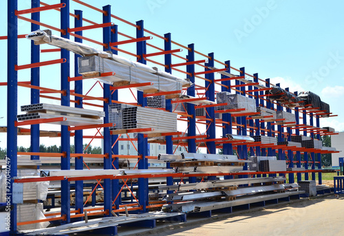 Fototapeta Warehouse Cantilever Racking Systems for storage Aluminum Pipe or profiles