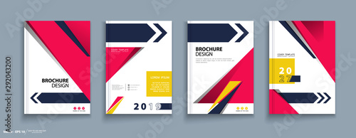 Photo sur Toile Oiseaux sur arbre Brochure, cover design, heading. Abstract composition, infographic, flyer font. Modern vector of the first page of art. Blue, pink triangles and arrow design. Business card set. Quote figure sign, a4
