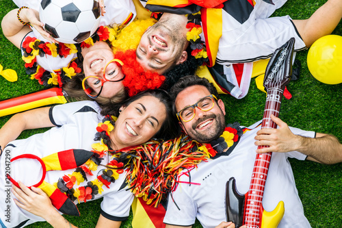 Happy german soccer fans celebrate championship victory Canvas Print