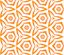 Orange Kaleidoscope Seamless Pattern. Hand Drawn W