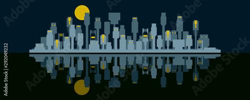 Connected City Skyline Concept Vector Fototapet
