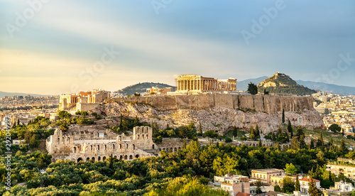 Photo View of the Acropolis of Athens in Greece