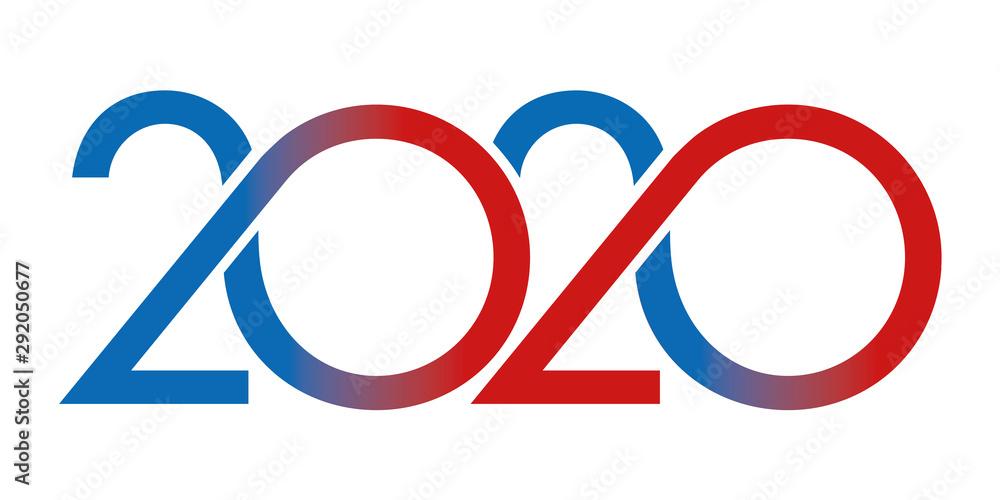 Fototapeta Carte de vœux au graphisme original pour présenter l'année 2020. Elle montre une succession de courbes de couleur rouge et bleue sur un fond blanc.