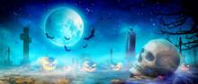 Halloween Motiv Mit Krähen Auf Dem Friedhof