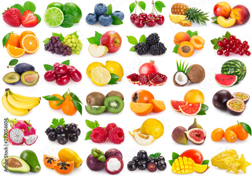 Fototapeta Collection of fresh fruits and berries obraz