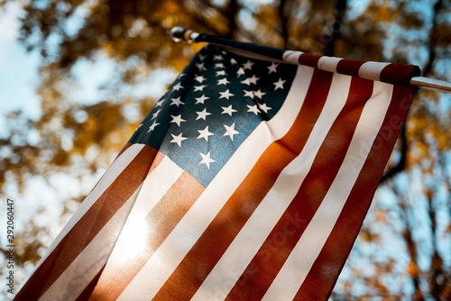Fotografie, Obraz  Flag of the united states shot from a low angle with a blurred background