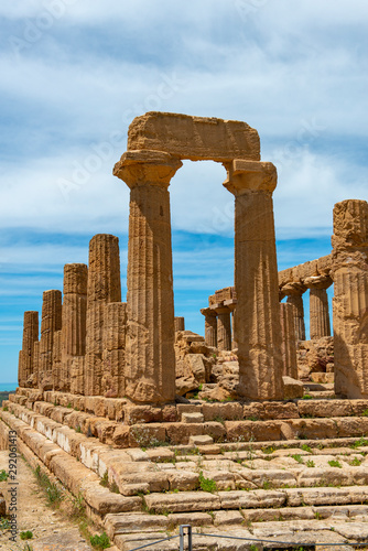Ruins at the Valley of the Temples near Agrigento on the Italian island of Sicil Canvas Print
