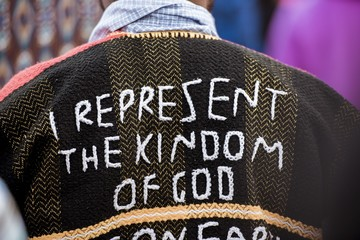 Closeup shot of a person's back wearing a coat with