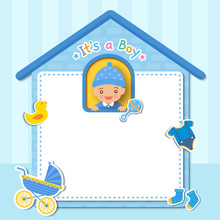 Baby Shower Card Design With Little Boy On Cute House Frame With Toys And Layette