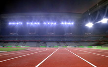 Running Track In A Stadium Under Bright Spotlights