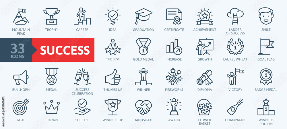 Fototapety, obrazy: Sussess, awards, achievment elements - minimal thin line web icon set. Outline icons collection. Simple vector illustration.